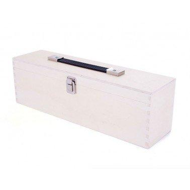 Caja madera para pinturas de contrachapado de chopo con asa 38x12x10cm.