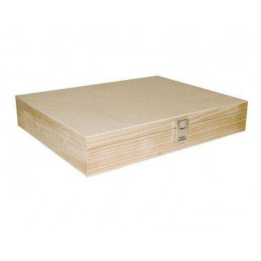 Caja madera de pino macizo y chapa rectangular 32x26x8cm.