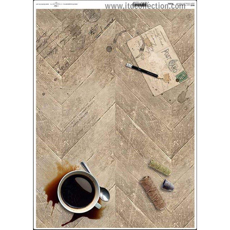 Papel de arroz decorado A3 CAFE POSTAL, 42 x 29,7 cm.