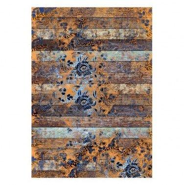 Papel de arroz decorado TABLAS IMPRESAS NARANJA AÑIL CADENCE, 30 x 41 cm.