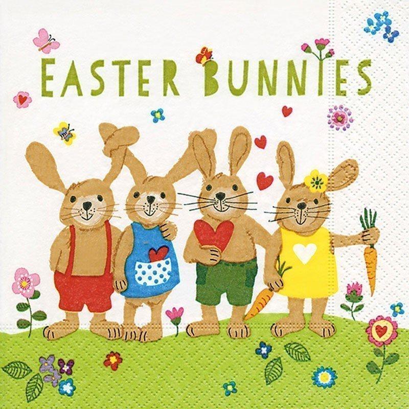 Servilletas para decoupage Easter bunnies 33 X 33 cm.