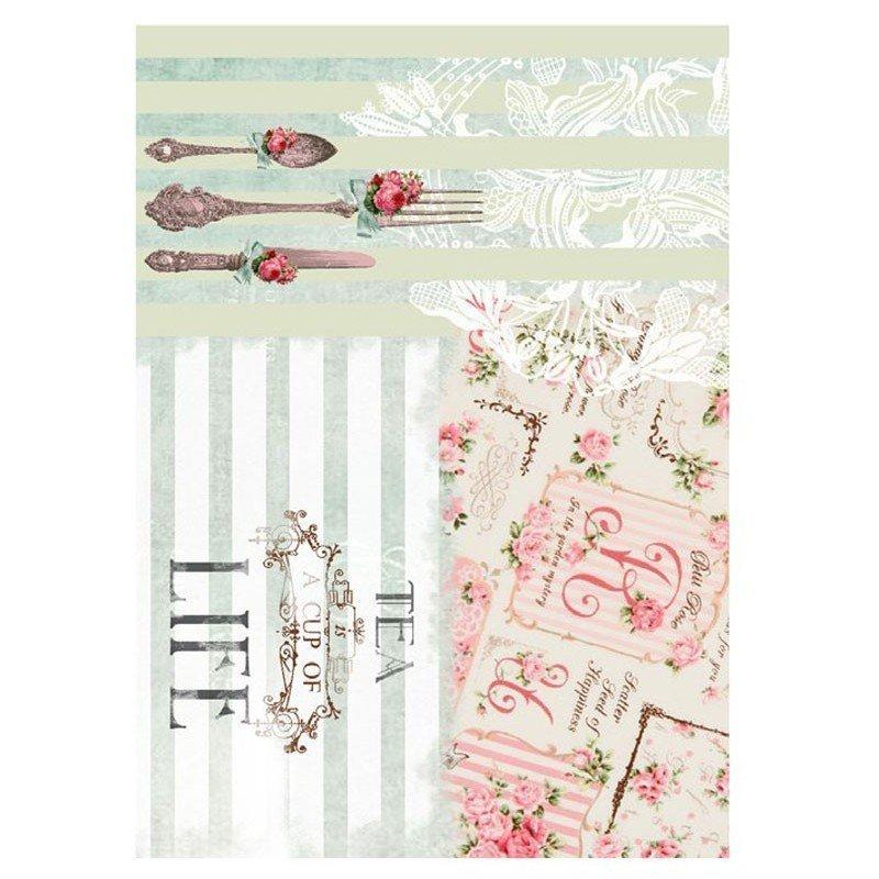 Papel de arroz decorado TEA LIFE 2 CADENCE, 30 x 41 cm.
