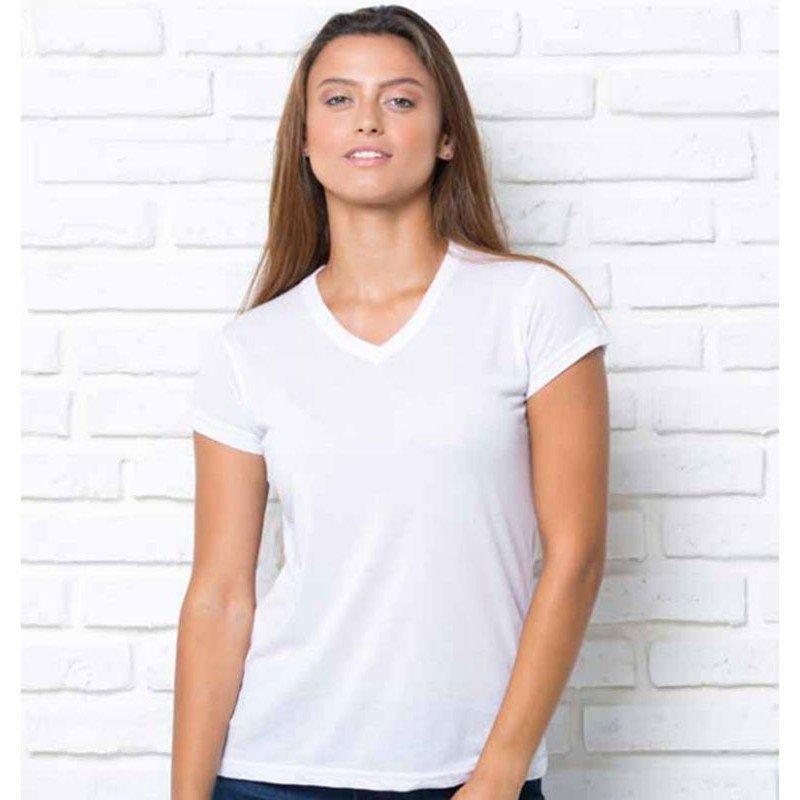 Camiseta pico SUBLI COMFORT V-NECK LADY Blanca Chica, Talla XXL.