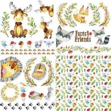 Colección 4 hojas Papel para sublimación Forest friends ARTIS DECOR 30 X 30 cm. (APROX.)