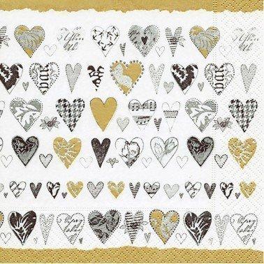 Servilletas para decoupage Golden hearts 33 X 33 cm.