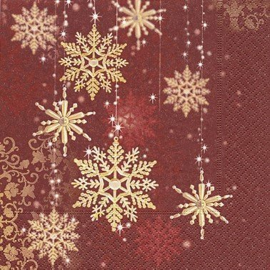 Servilletas para decoupage Golden snowflakes 33 X 33 cm.