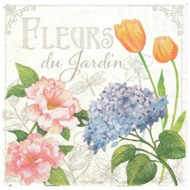 Servilletas para decoupage Fleurs De Jardin 33 X 33 cm.