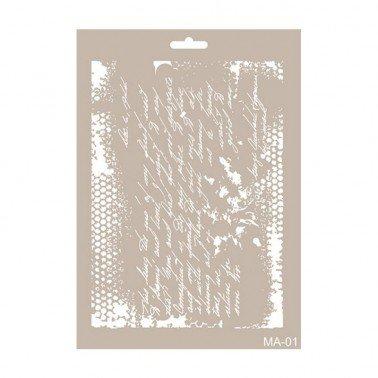Stencil mix media TEXTO CADENCE 21 x 30 cm.