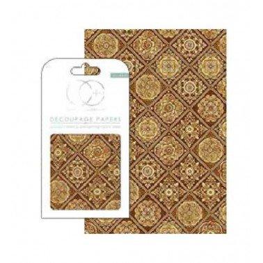 Papel decoupage Baldosas Golden Tiles Craft Consortium, 3 hojas de 35 x40 cm.
