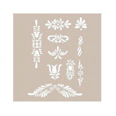 Stencil APLIQUES FLORALES CADENCE 21 x 30 cm.
