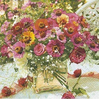 Servilletas para decoupage Garden zinnias 33 X 33 cm.