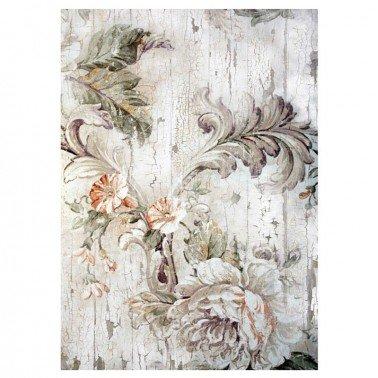 Papel de arroz decorado FLORES GRISES CADENCE, 30 x 41 cm.