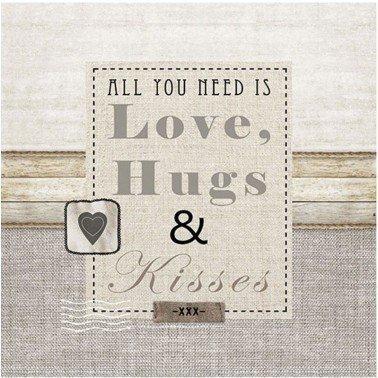 Servilletas para decoupage LOVE, HUGS & KISSES 33 X 33 cm.