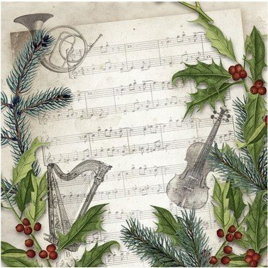 Servilletas para decoupage CHRISTMAS SONG 33 X 33 cm.